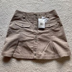 Nike Golf Pleated Button Front Mini Skirt Tan 2